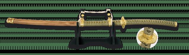 Katana TACHI de Acero Carbono con Peana. Hoja 69 cm