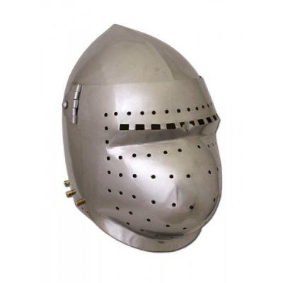 Casco Bacinete de combate con visera abatible. S.XIV