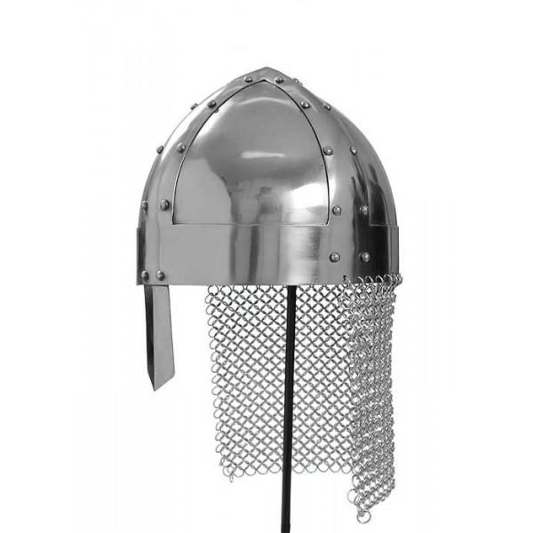 Casco Vikingo medieval con cota de malla y correa de cuero