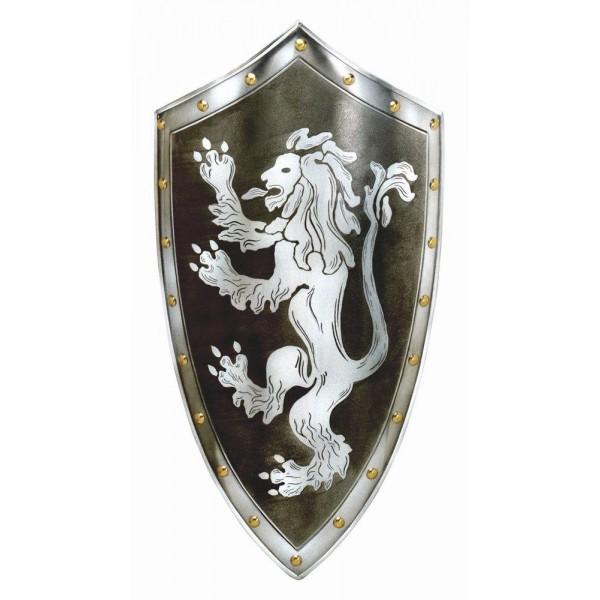 Escudo de metal grabado con diseño de León Rampante
