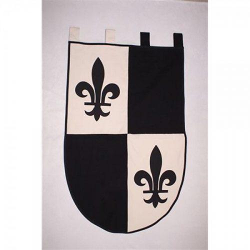 Estandarte Medieval blanco y negro con Flor de lys. (65 x 104 cm.)
