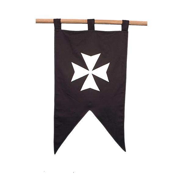 Estandarte Hospitalario con cruz bordada (61 x 106 cm.). Algodón 100%