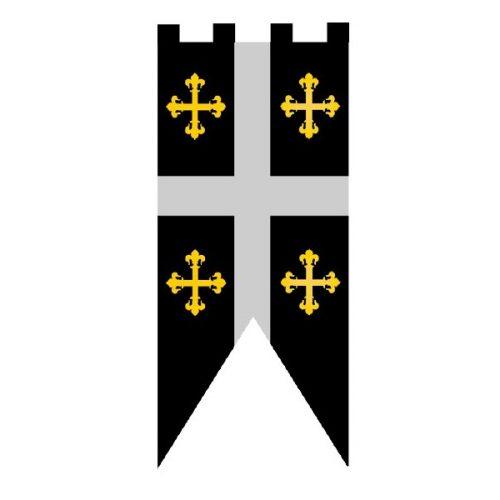 Estandarte medieval de (75 x 135 cm.) se puede elegir entre varios modelos. Material poliester