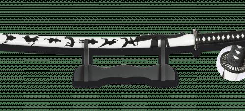 Katana Ninja Blanco de Acero Carbono con Peana. Hoja 67 cm