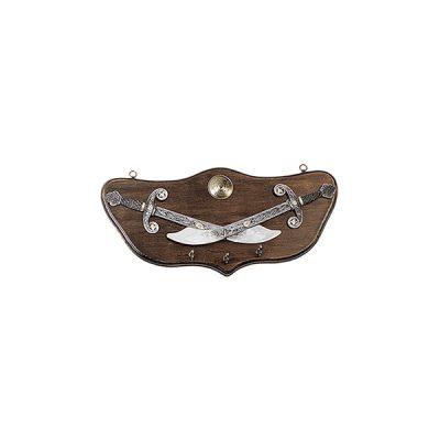 Panoplia porta llaves de madera con 2 alabardas. Medidas 47 x 21 cm. Peso 880 gr.