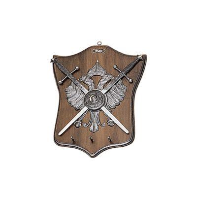 Panoplia porta llaves de madera con águila de dos cabezas y 2 espadas. Medidas 35 x 44 cm. Peso 1.780