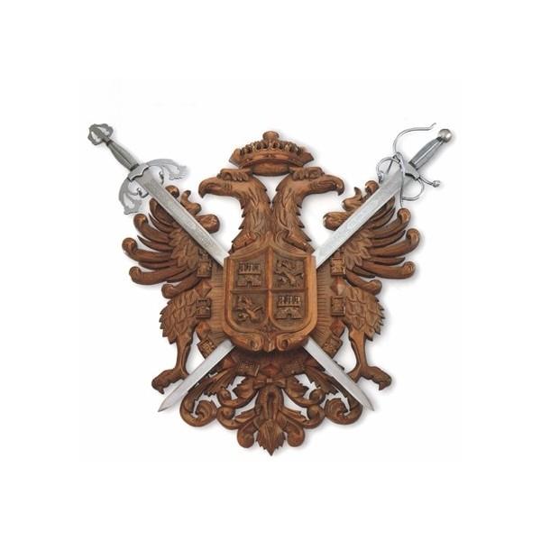 Panoplia 2 espadas cadetes de 76 ó 103 cm. Madera de haya. Medidas 85 x 73 cm. Peso 7 kg (espadas no incluidas)