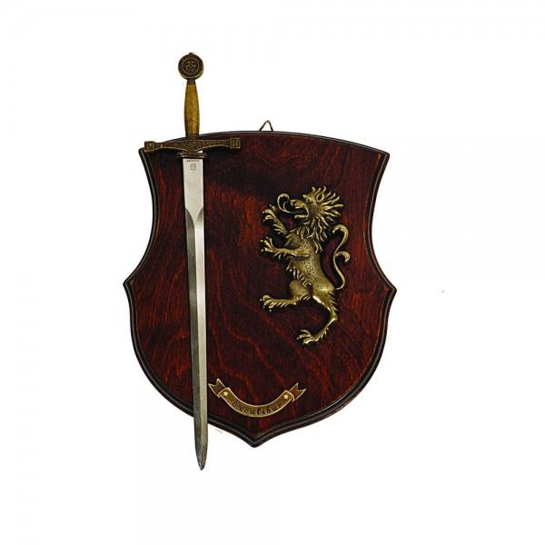 Panoplia León 1 daga. Fabricada en madera. Medida: 27 x 20
