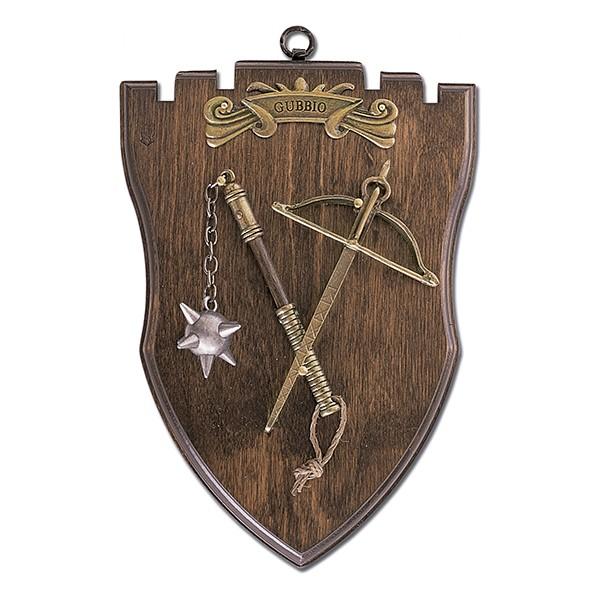 Panoplia de madera con maza y ballesta. Medidas 23 x 16 cm. Peso 386 gr.
