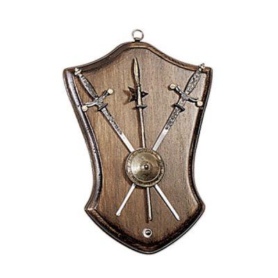 Panoplia de madera.- Incluye dos mini espadas y una alabarda