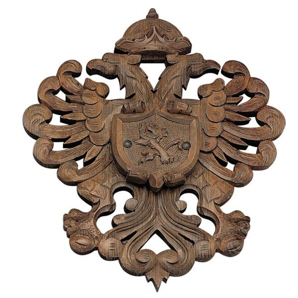 Panoplia pequeña de madera con escudo Castilla y León. No incluye espadas. Medidas 50 x 40 cm.