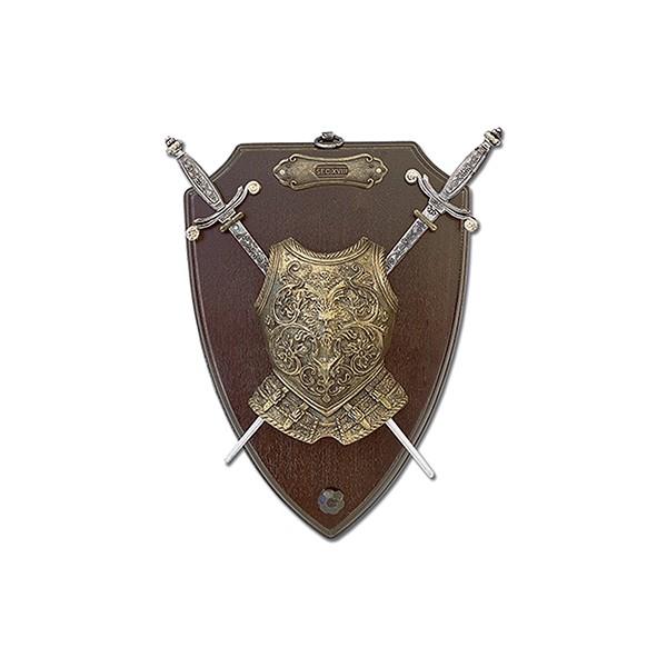 Panoplia peto y 2 mini espadas.